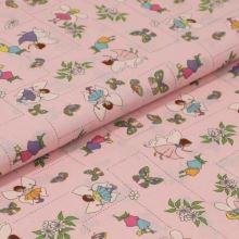 Bavlněné plátno růžové, kouzelné víly, š.140