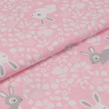 Bavlnené plátno ružové, šedobiely zajačik, š.160