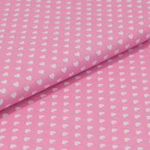 Bavlněné plátno růžové, bílá srdíčka, š.140