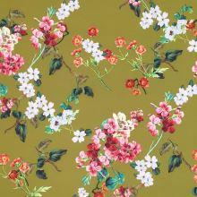 Kostýmovka oliva, kvetinový vzor, š.150