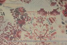 Tyl telový, vínový tlač, kvety, š.160