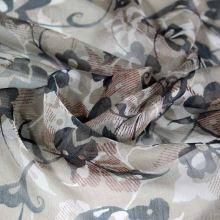 Hedvábný šifon hnědý, květinový vzor, š.140