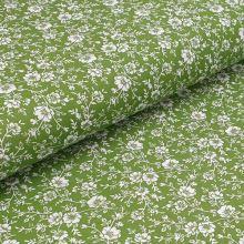 Bavlněné plátno olivové, bílý květinový vzor, š.140