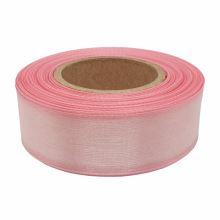 Stuha monofilová s vlascem světle růžová, šíře 25mm, 25m