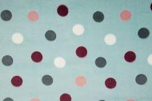 Fleece mint, barevné puntíky, š.145