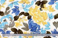 Šatovka N0473 bílá, žlutomodré květy, š.150