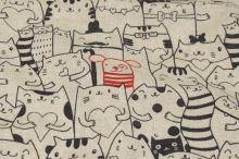 Dekorační látka režná, černé kočky a červený pes, š.140