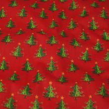 Bavlna červená, vánoční stromeček malý, š.140