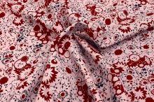 Manšestr světle růžový, červeno-modré květy, š.140