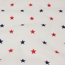 Bavlna biela, červené a modré hviezdičky, š.160