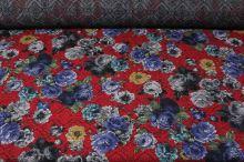 Kostýmovka červená 15187, barevný květ, š.150