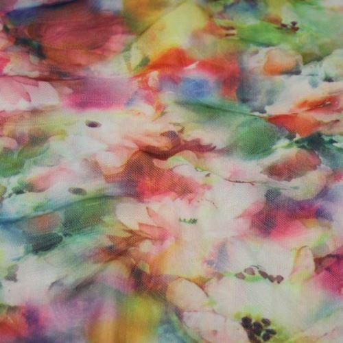 Elastický tyl 15553, farebný kvet, š.160