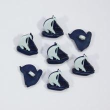 Knoflík dětský modrý, plachetnice, 18 mm