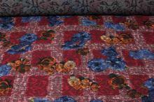 Kostýmovka červená 15202, barevný květ, š.150
