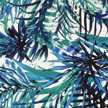 Úplet bílý, zelené a modré listy, š.150