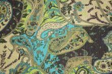Šifon zeleno-béžový barevný vzor š.140