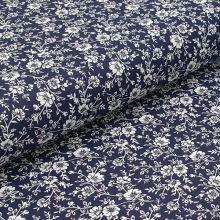 Bavlněné plátno tmavě modré, bílý květinový vzor, š.140