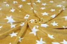 Fleece žlutý, bílé hvězdy, š.150