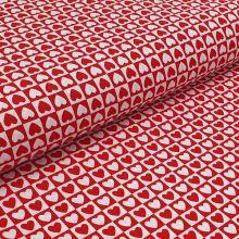 Bavlnené plátno červeno-biela srdiečka v kocke, š.140