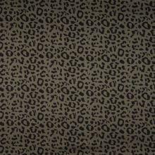 Bavlna khaki, čierny zvierací vzor, š.150