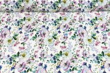 Šatovka SILKY bílá, barevné květy, š.145