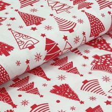 Bavlnené plátno biele, červený vianočný stromček, š.160