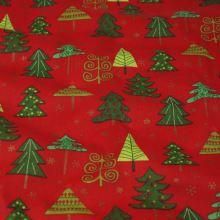 Bavlna červená, vianočný stromček veľký, š.140
