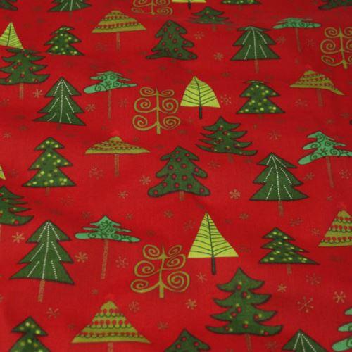Bavlna červená, vánoční stromeček velký, š.140