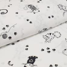 Plátno biele, čierne mačky a myši, š.160