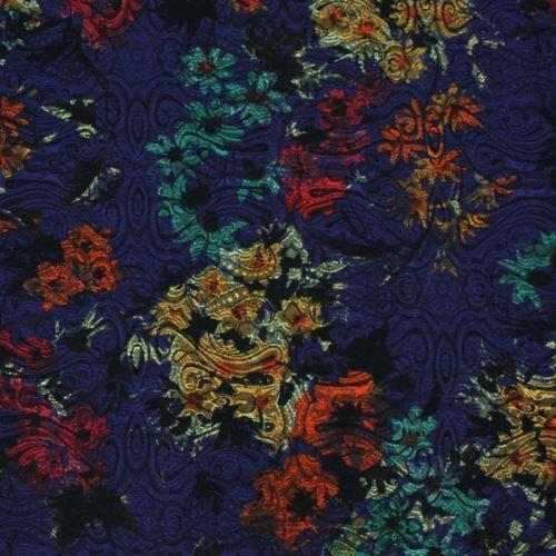 Kostýmovka modrá 15188, farebný vzor, š.150