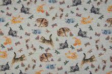 Teplákovina nepočesaná šedá melanž, koťata s motýly, š.145