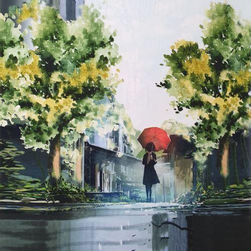 Úplet dáma s dáždnikom, š.175