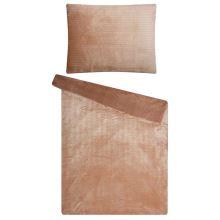 Obliečky mikroflanel SLEEP WELL 70x90/140x200cm - lesklý prúžok čoko
