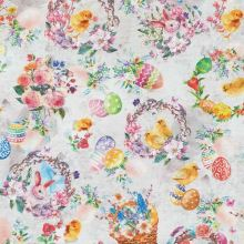 Dekoračná látka bielošedá, veľkonočný motív, zajačiky, kuriatka, kvety, š.140