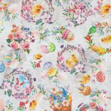Dekorační látka bílošedá, velikonoční motiv, zajíčci, kuřátka, květiny, š.140