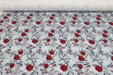 Teplákovina šedá, vínové květy, š.175