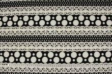 Úplet smetanovo-černý vzor, š.150