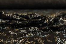 Košeľovina 06770 čierna, modrozlatý tlač, š.150