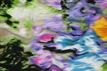 Úplet zelený, farebný kvetinový vzor, š.145