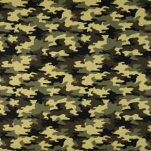 Popelín žltohnedý army vzor, š.145