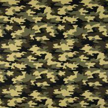 Popelín žlutohnědý army vzor, š.145
