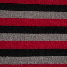 Svetrovina žinýlka, červeno-šedo-černé pruhy, š.150