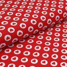 Bavlnené plátno červené, srdiečko v bielej bodke, š.140