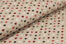 Bavlna režná, barevná srdíčka, š.140