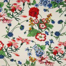Šatovka 21643 krémová, farebné kvety, š.140