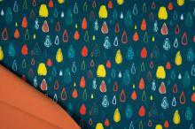 Softshell petrolejový, farebné kvapky, š.145