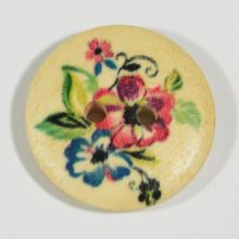 Gombík drevený, kvetinový vzor, priemer 23 mm