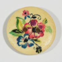 Knoflík dřevěný, květinový vzor, průměr 23 mm