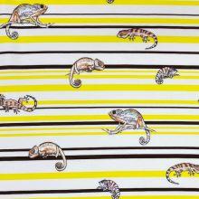 Teplákovina nepočesaná biela, žlto-hnedé pruhy, chameleóni, š.150
