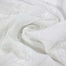 Šifon bílý s výšivkou, třásně, š.140